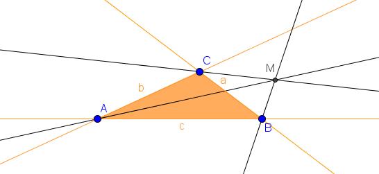 Mittelpunkt M des Ankreises an der Seite a
