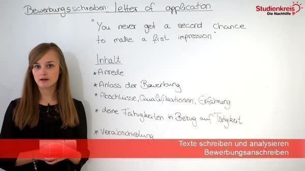 Bewerbung schreiben: letter of application with example ...