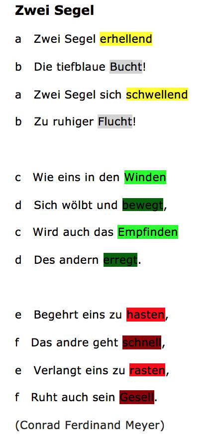 Gedichte klasse 6 reimschema