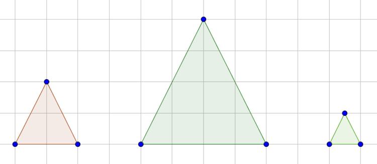 Drei verschiedene Dreiecke