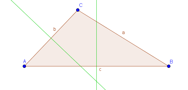 Dreieck mit zwei Mittelsenkrechten
