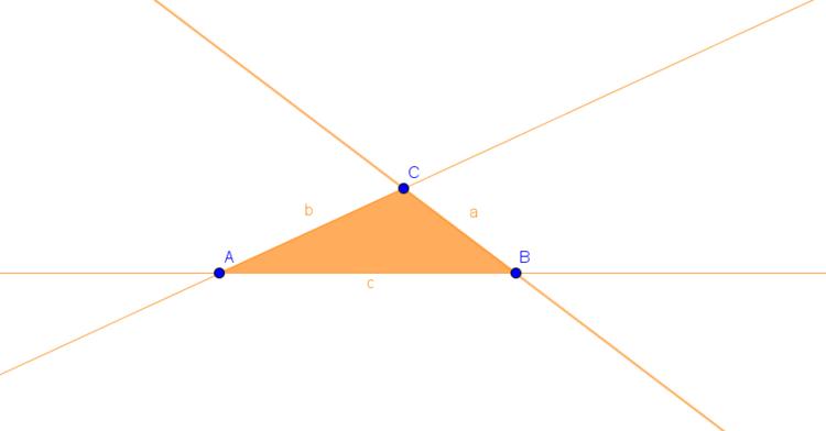 Dreieck mit verlängerten Seiten