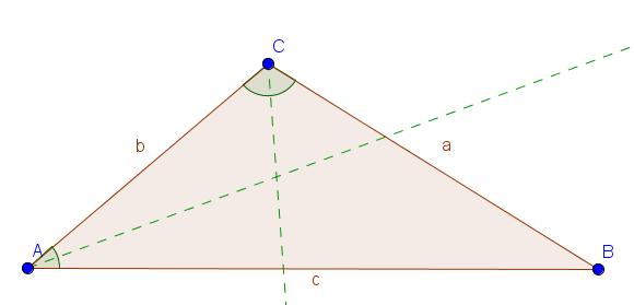 Dreieck mit zwei Winkelhalbierenden