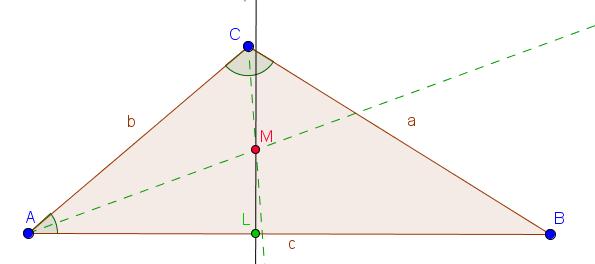Lot von einer Seite des Dreiecks durch den Schnittpunkt der Winkelhalbierenden