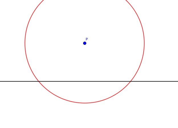 Gerade mit Punkt und Kreis