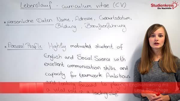 Lebenslauf Auf Englisch Curriculum Vitae With Example