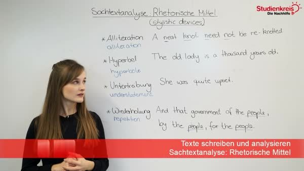 Sachtextanalyse - stylistic devices: Liste