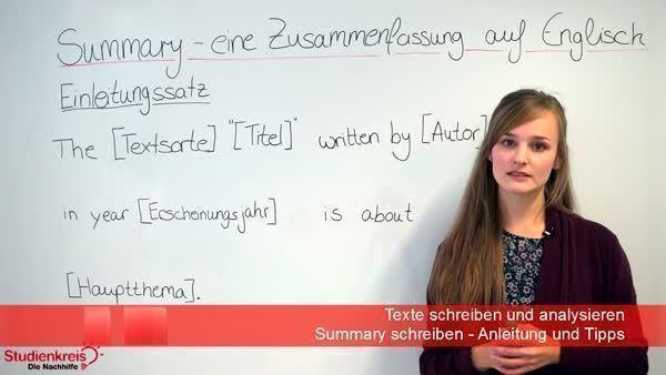 Summary schreiben fictional text phrases essay english