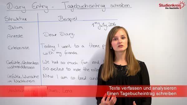 Diary Entry Tagebucheintrag Auf Englisch Schreiben