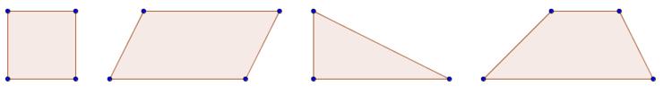 Von links nach rechts: Quadrat, Parallelogramm, Dreieck, Trapez