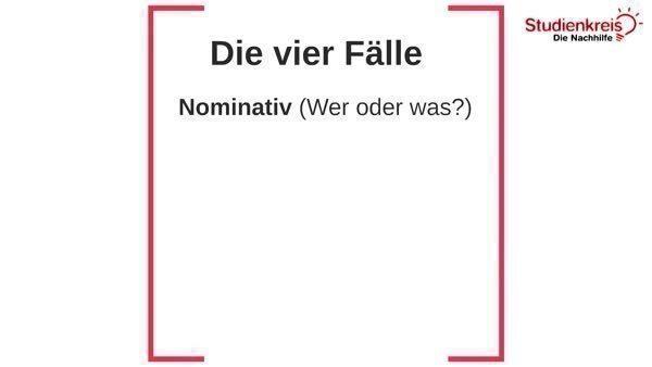 Die vier Fälle - Kasus bestimmen - Deutsch Klasse 5
