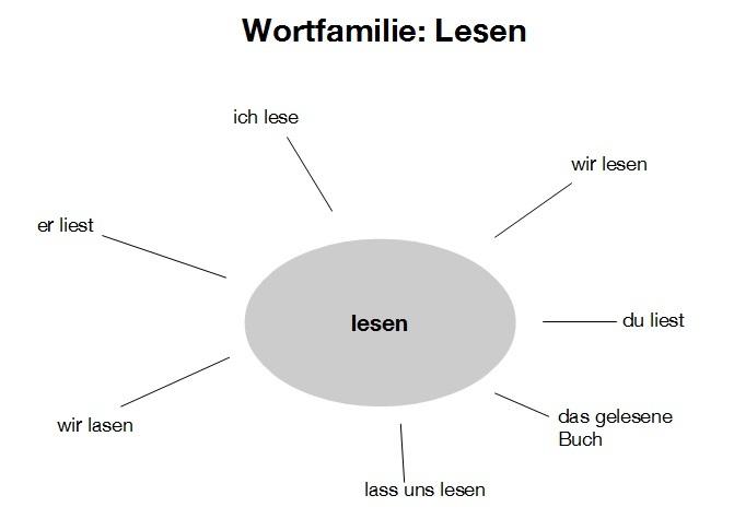 Ein Mind-Map zur Wortfamilie: Lesen.