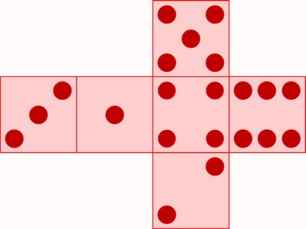 Ein aufgeklappter Würfel mit sechs möglichen Seiten
